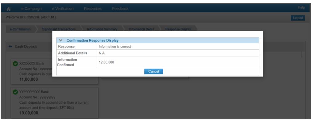 Compliance Portal - Confirmation Response Display