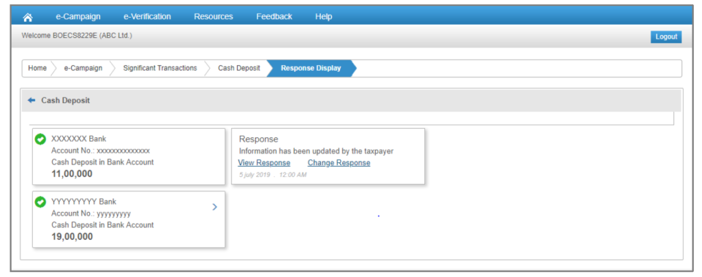 Compliance Portal - Post Response Submission Options