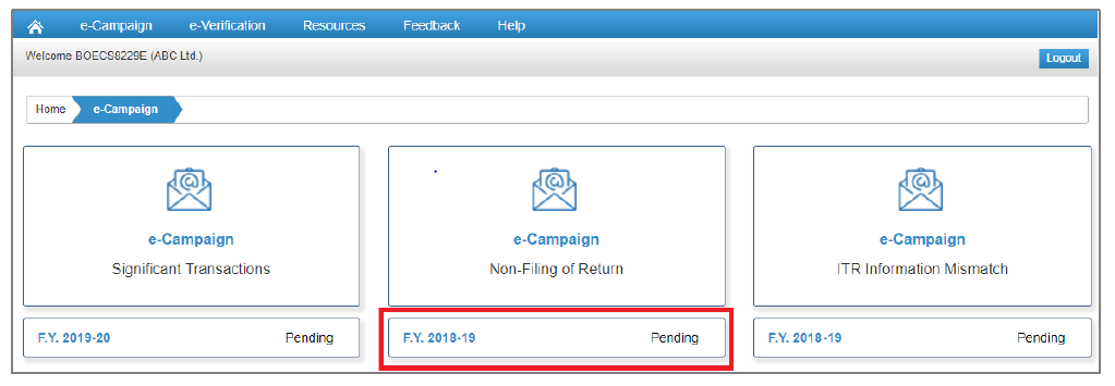Compliance Portal - Non-Filing of Return