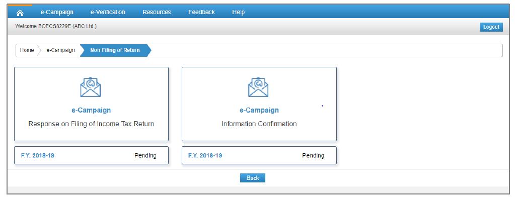 Compliance Portal - Non Filing of Return Options