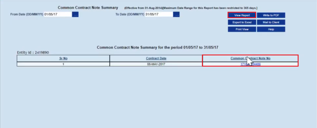 HDFC Securities - Common Contract Note Number