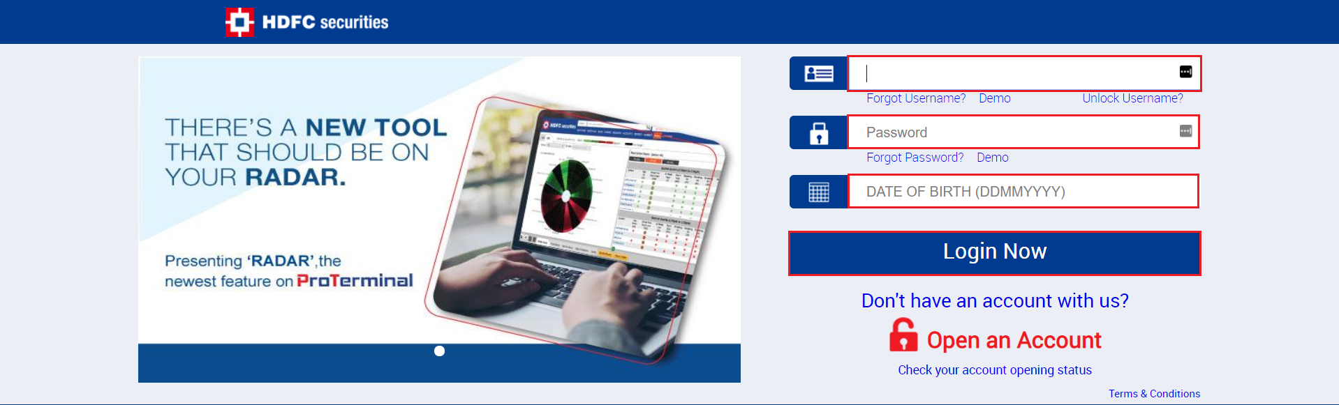 HDFC Securities - Login Page