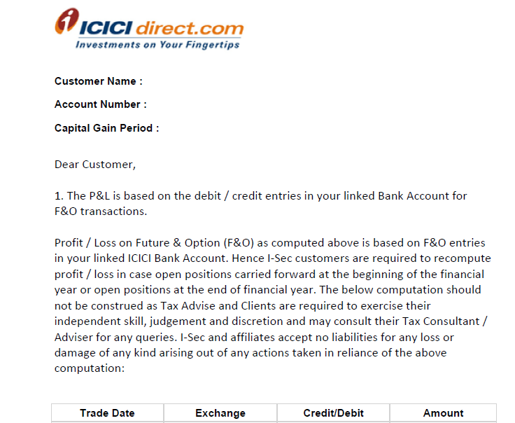 ICICI Direct Trading Profit or Loss Statement