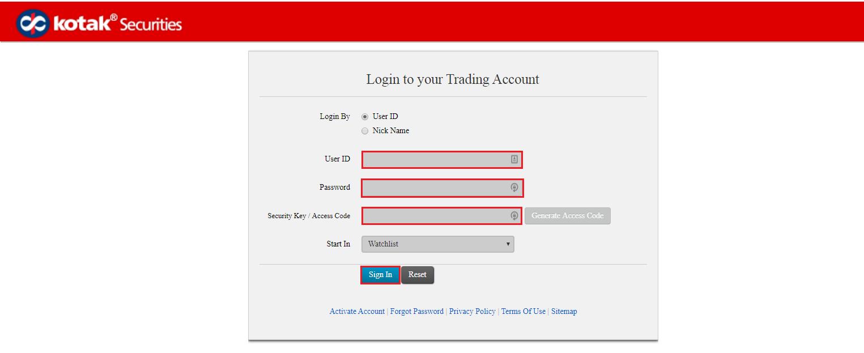 Kotak Securities Login Page