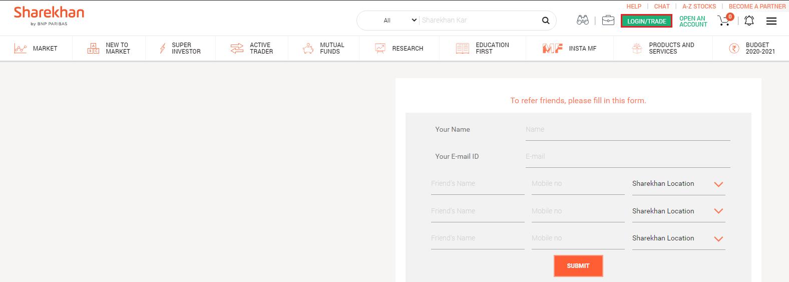 Sharekhan Homepage