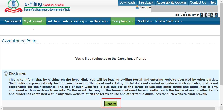 compliance portal confirm