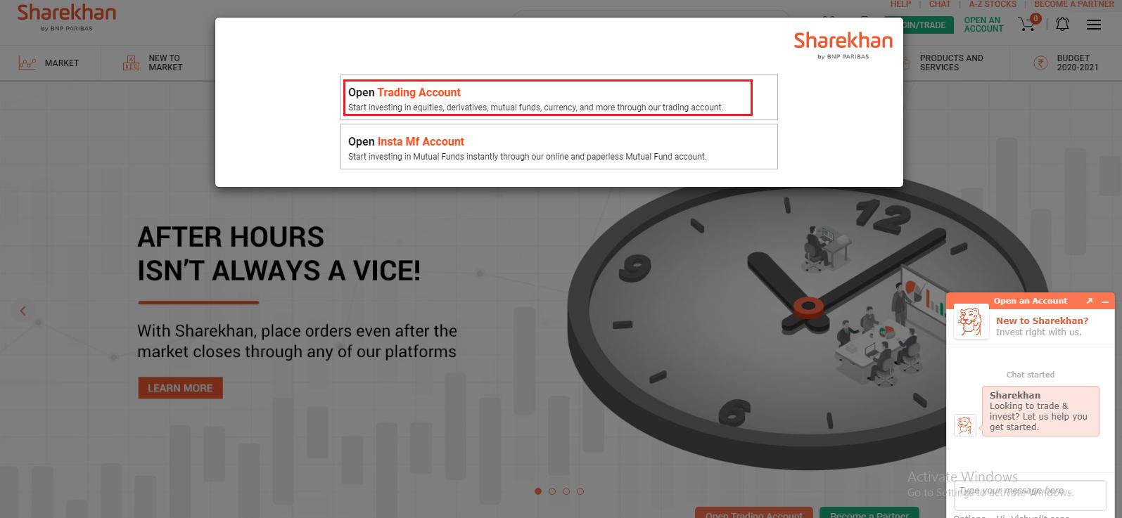 sharekhan open trading account