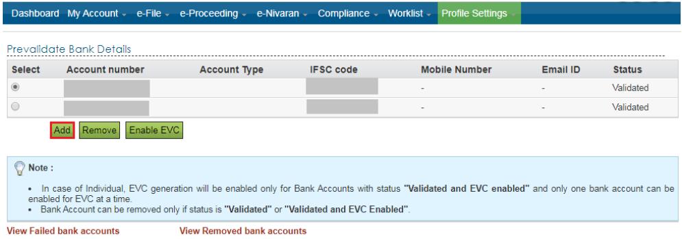 Income Tax e-Filing Portal - Prevalidate Bank Details