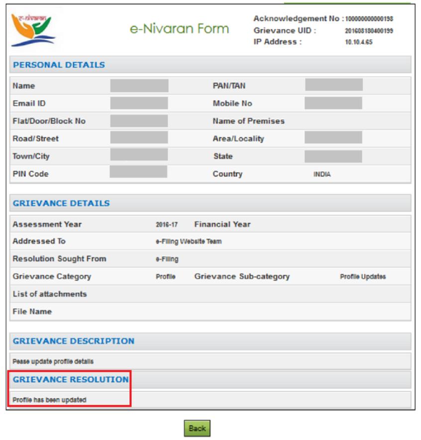 Income Tax Portal e-Nivaran Form