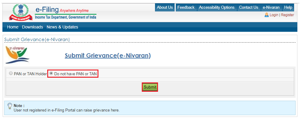 Income Tax Portal e-Nivaran - Submit Grievance