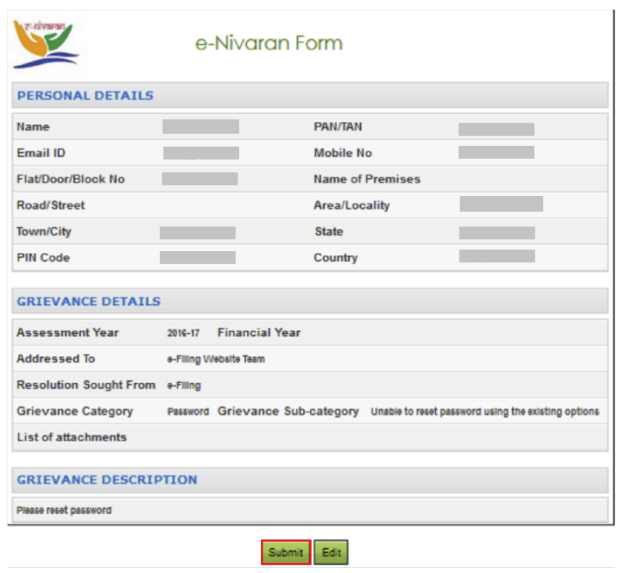 Income Tax Portal Grievance Preview Form