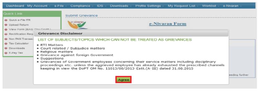 Income Tax Portal e-Nivaran - Disclaimer