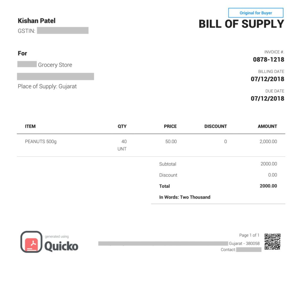 GST Bill of Supply
