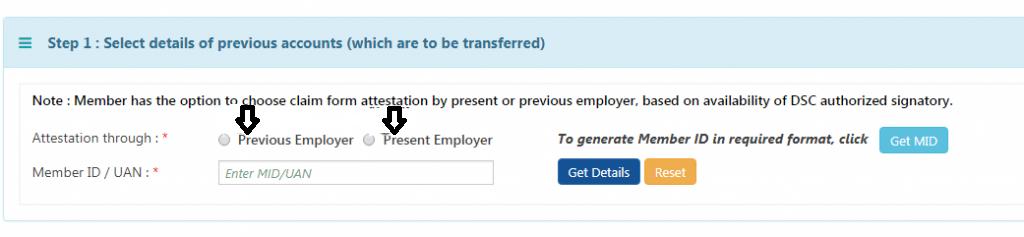 Transfer EPF Balance- Step 6- Select Employer