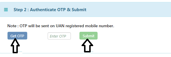 Transfer EPF Balance- Step 7- Get OTP