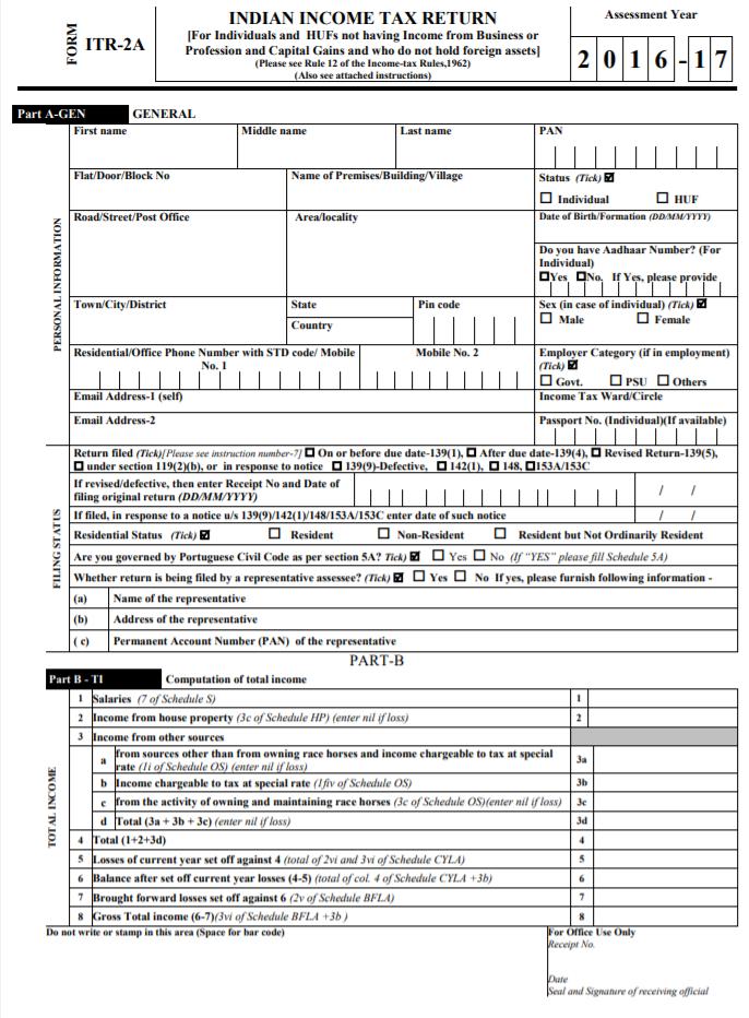Sample ITR 2A Form