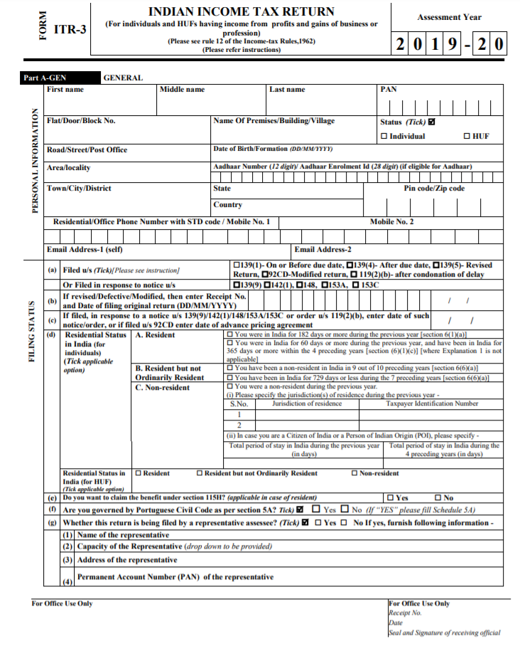 Sample ITR-3 Form