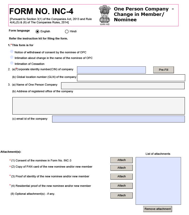Sample Form INC-4