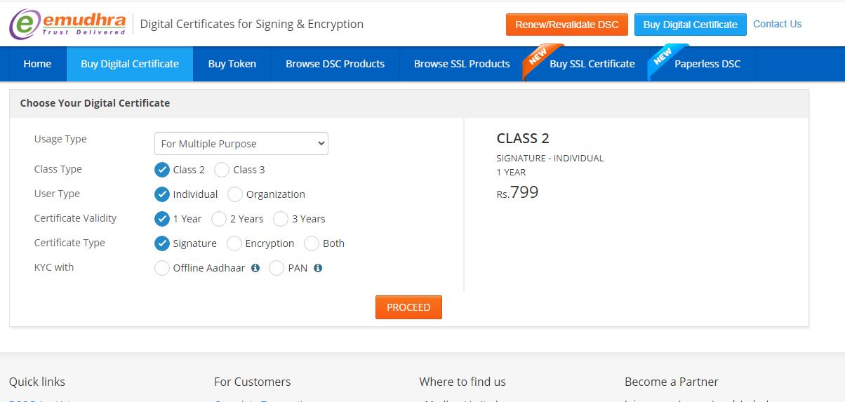 DSC: Click on buy digital certificate