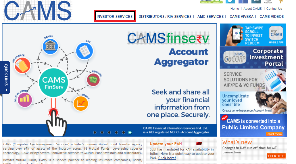 Consolidated Account Statement: Camsonline homepage