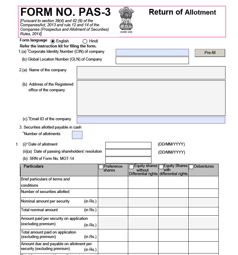 sample form PAS-3