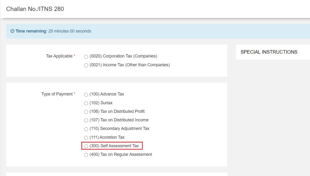 Challan 280 - Self Assessment Tax Payment Option