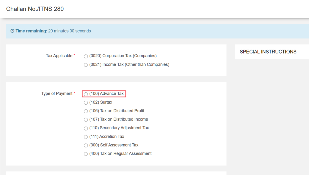 Challan 280 - Advanced Tax Payment Option