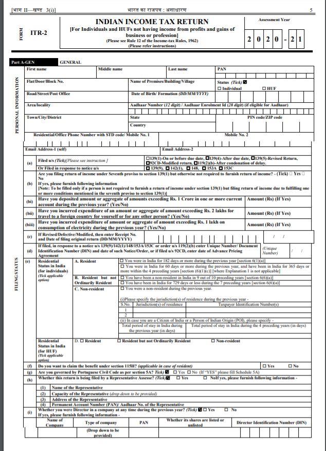 Latest Sample ITR-2 Form