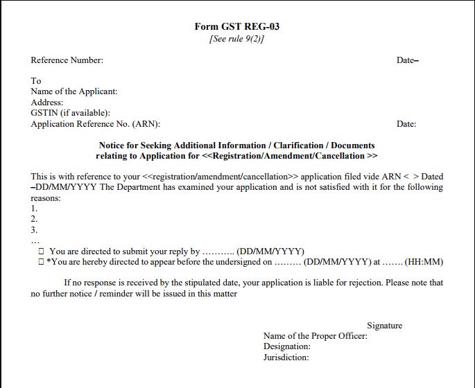 Gst Registration Pending for clarification