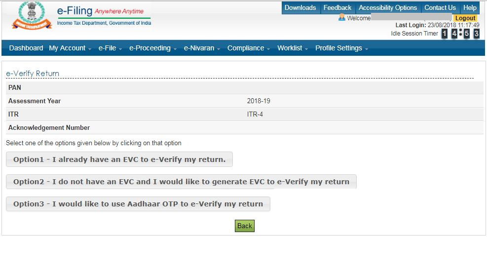 Options to e-Verify ITR