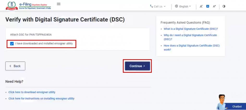 www.incometax.gov.in - Verify ITR using DSC
