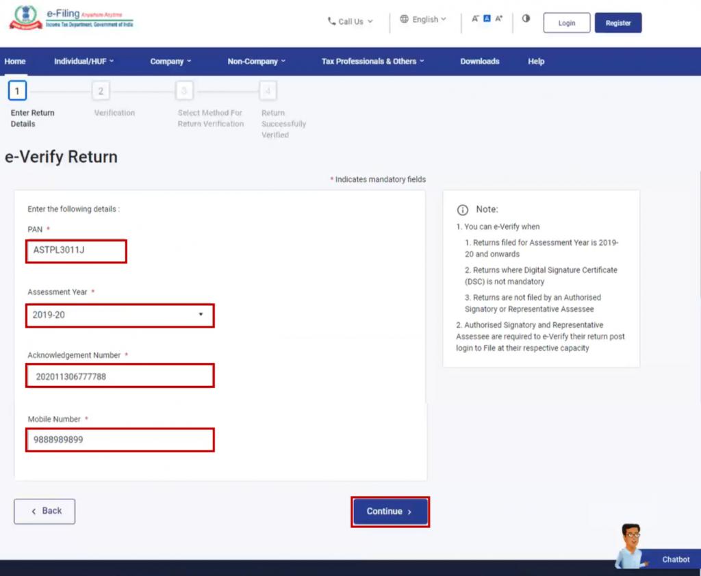 www.incometax.gov.in - Enter Details to Verify ITR