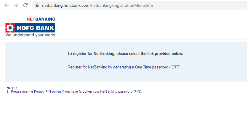 HDFC Bank NetBanking Register - Step 1