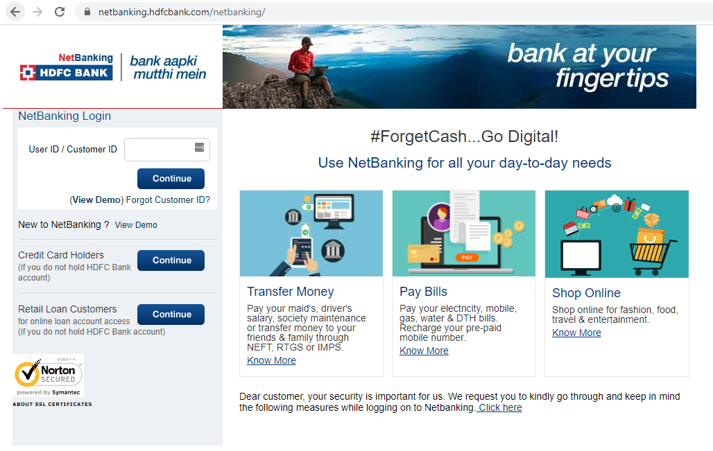 HDFC NetBanking Login Page - Step 11