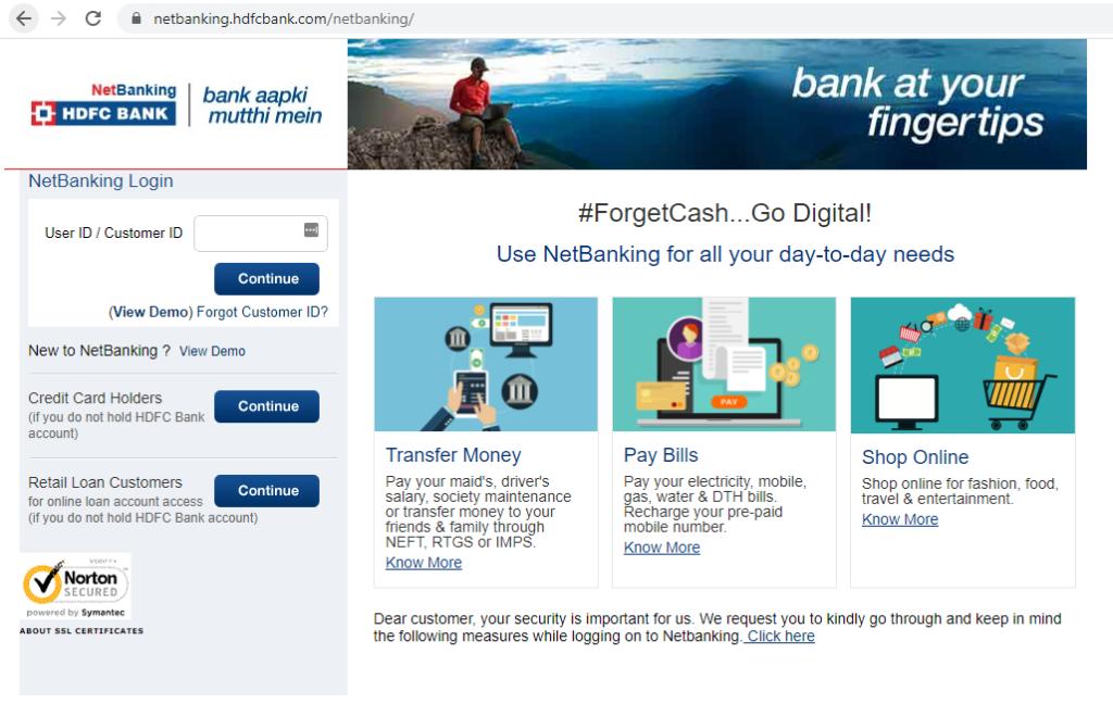 HDFC Netbanking login page