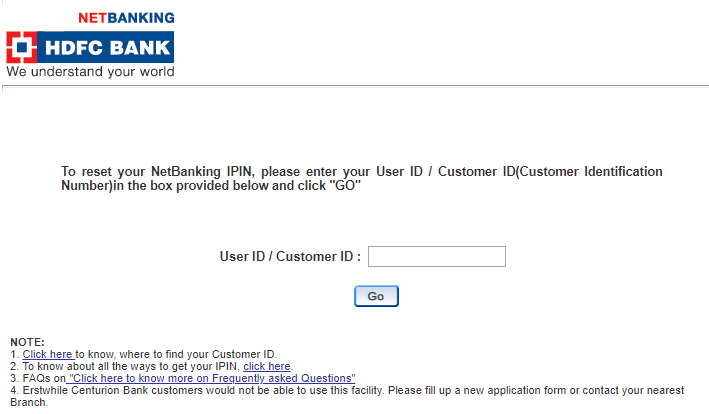 HDFC Netbanking Login - Forgot Password - Enter Cust ID