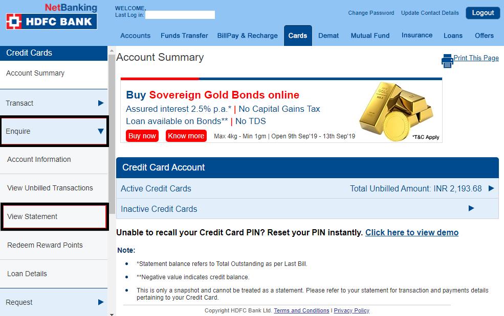Download HDFC Credit Card Statement - Netbanking login