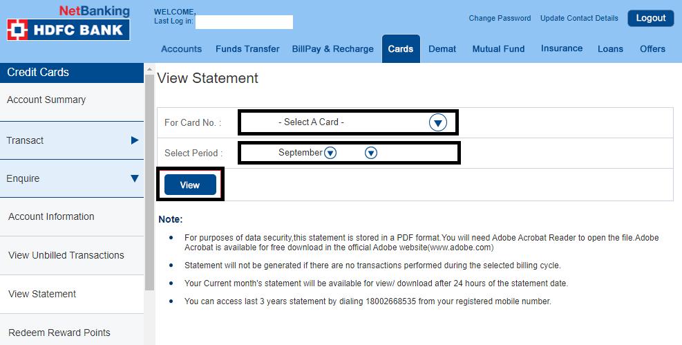 hdfc credit card login statement