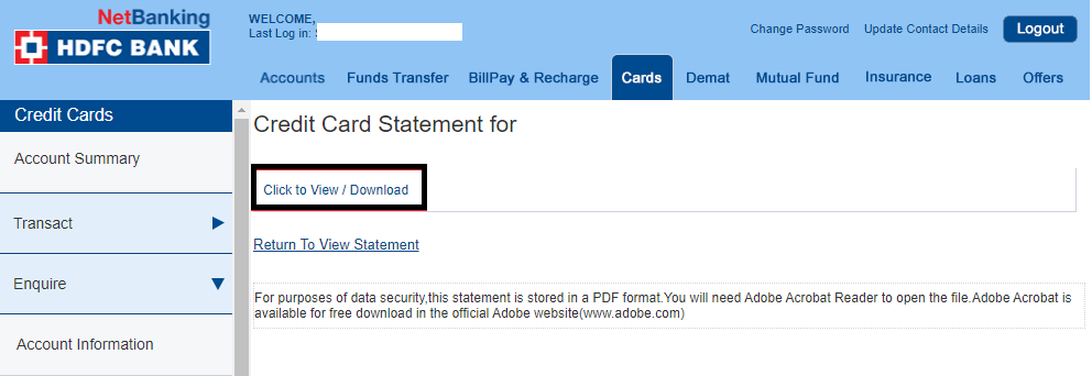 Download HDFC Credit Card Statement - View / Download