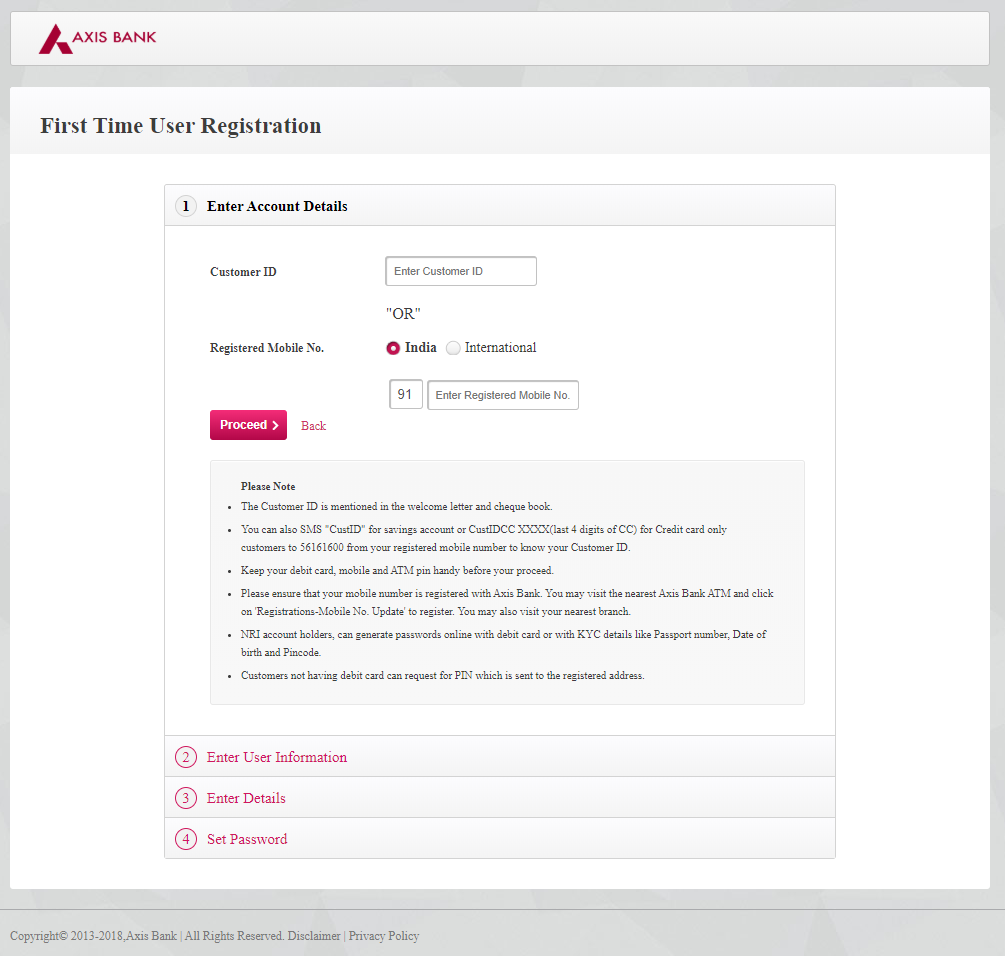 Axis Netbanking Registration Page