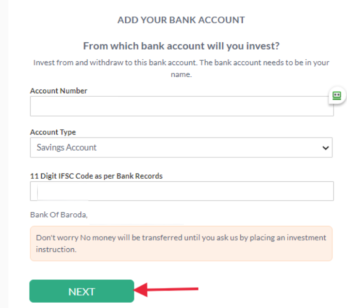 Scripbox sign up Bank Account Information