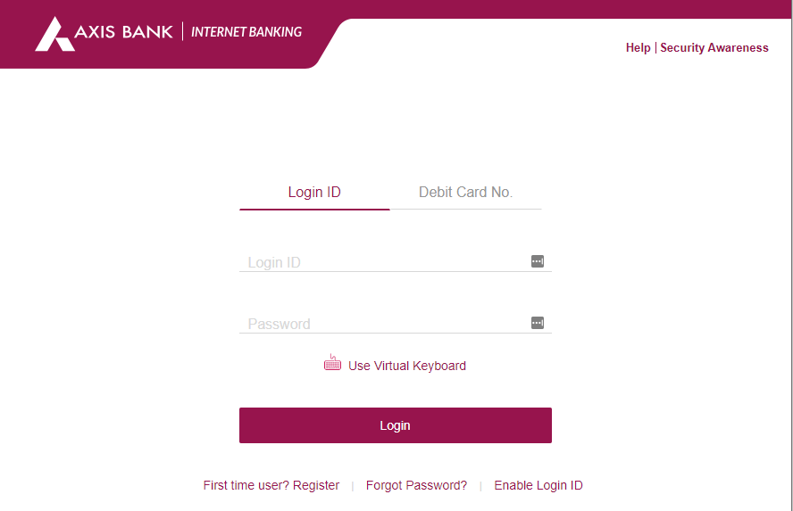Axis Netbanking - Login Page