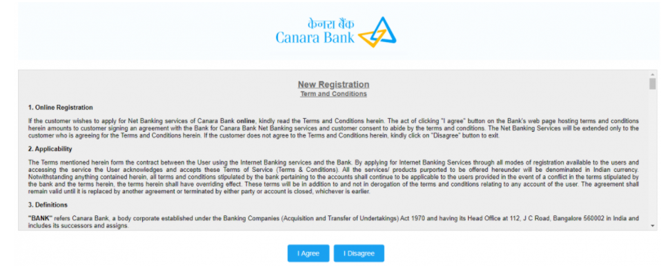 canara bank net banking register- terms and conditions
