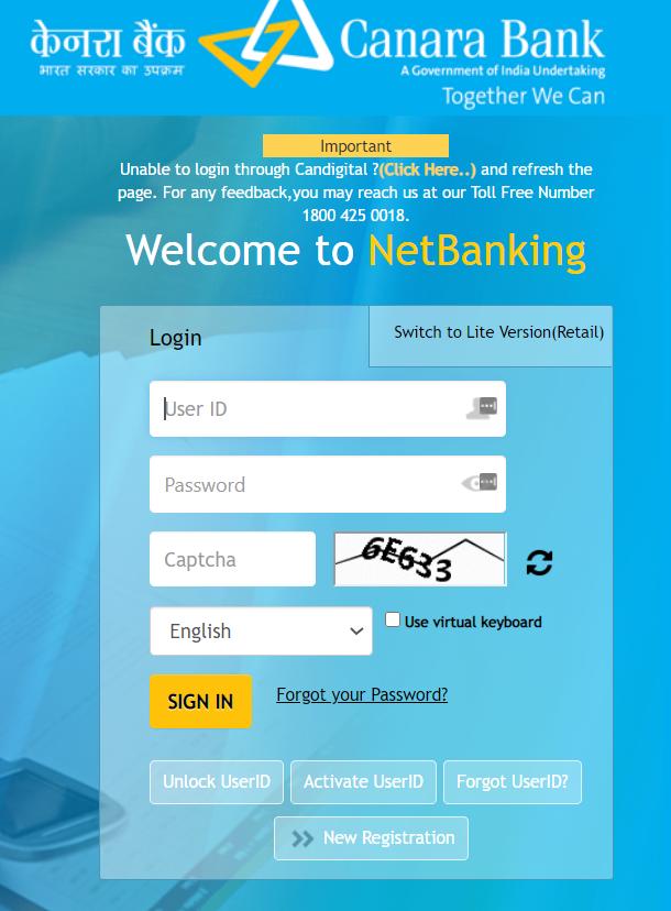 canara net banking login