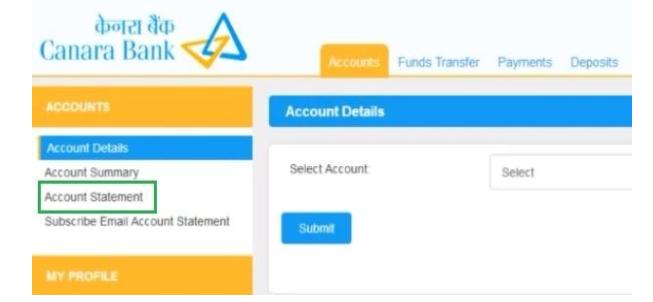 canara bank statement