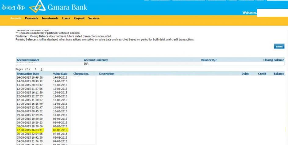sample canara bank statement