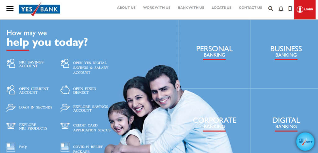 Yes Bank net banking registration page