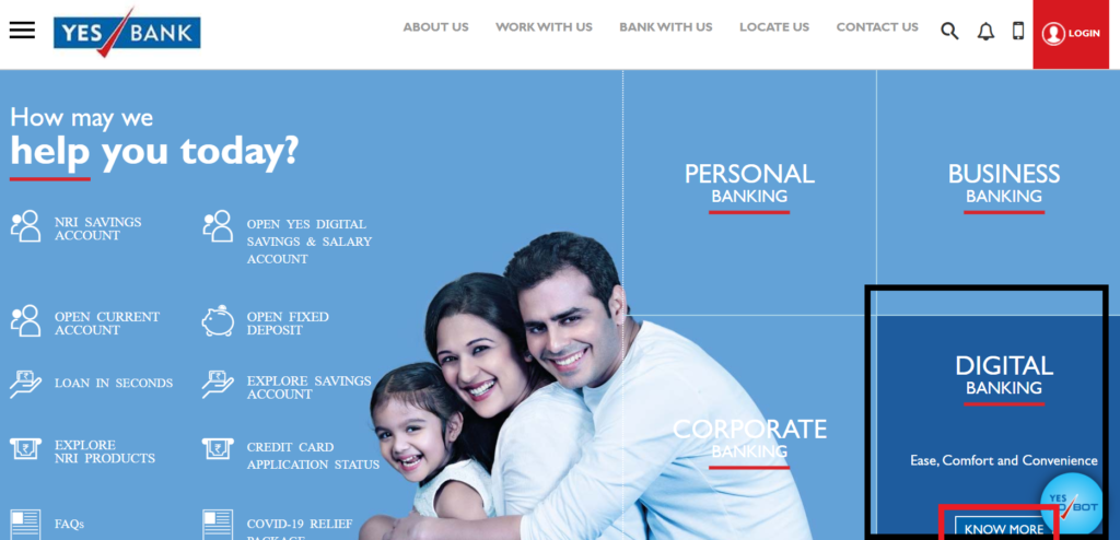Click on the 'Digital Banking'
