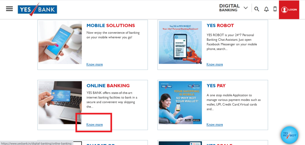 Online Banking section