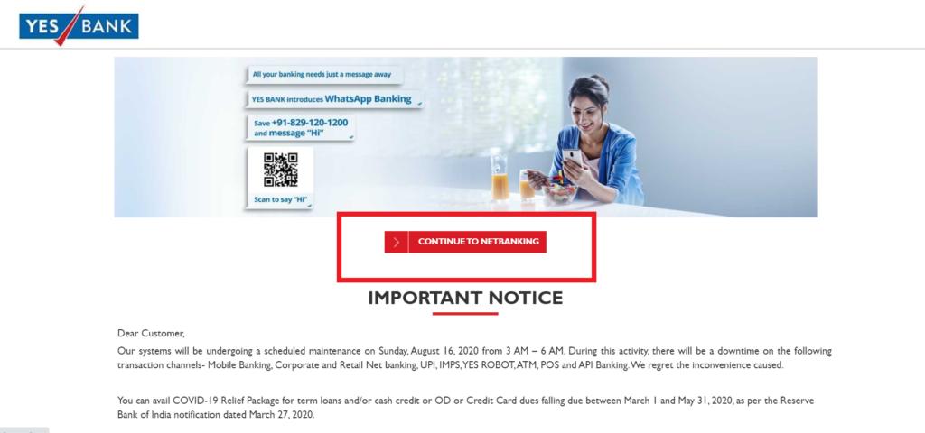Yes Bank Net Banking Service